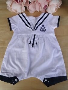 Spanish Style Baby Boy White Blue Nautical Sailor Collar Romper All-in-One 0-9m