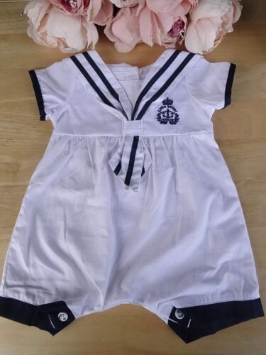 Spanish Style Baby Boy White Navy Nautical Embroidered Romper All-in-One 0-3-6-9