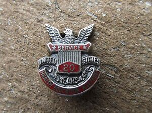 Vintage-1940-039-s-20-year-Service-Pin-US-Health-Education-Welfare-Sterling