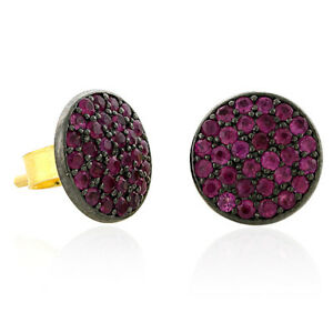 14k-Yellow-Gold-Pave-Ruby-Stud-Earrings-925-Sterling-Silver-Handmade-Jewelry