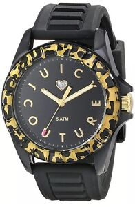 New-Juicy-Couture-pedigree-Watch-Black-Face-Leopard-Bezel-Silicone-Band-1901161