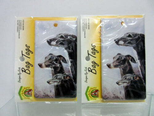 New Greyhound Whippet Dog Bag Tag 2 Luggage Pet Carrier Tags By Ruth Maystead