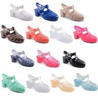 Ladies Womens Flat Retro Summer Beach Jelly Sandals Flip Flops Shoes Size UK 3-8
