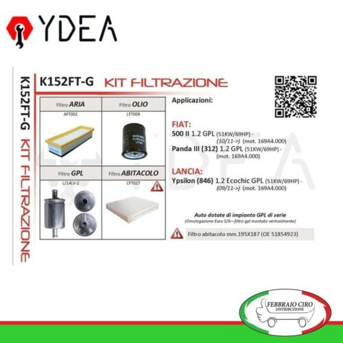 Ydea K152FT-G Kit Filtrazione Fiat 500 II Panda III 1.2 GPL Lancia Ypsilon GPL