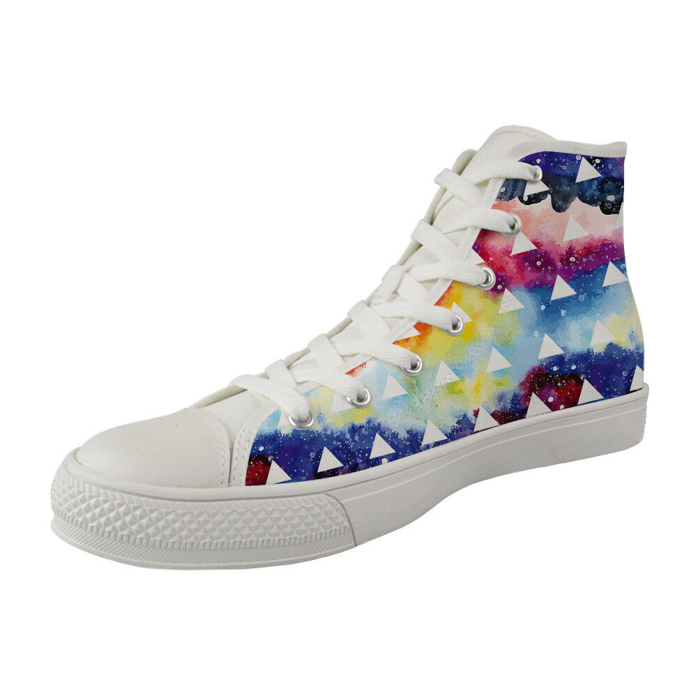 Shape Galaxy Casual Lace Up Canvas baskets for femmes Running chaussures Ankle bottes