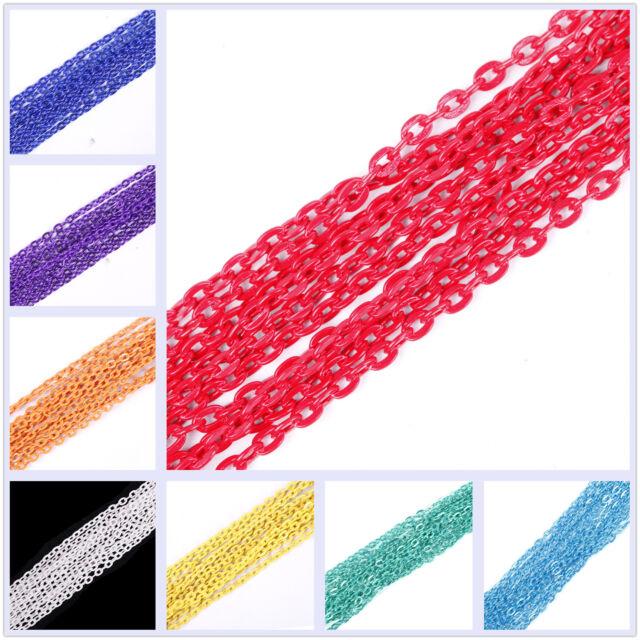5/100m Multicolore Chaîne Câble Ouvert Lien Fer Métal Pour Pebdantifs Colliers