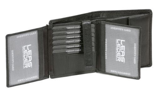 Geldbörse im Hochformat mit Klappe für viele Karten LEAS in Echt-Leder schwarz