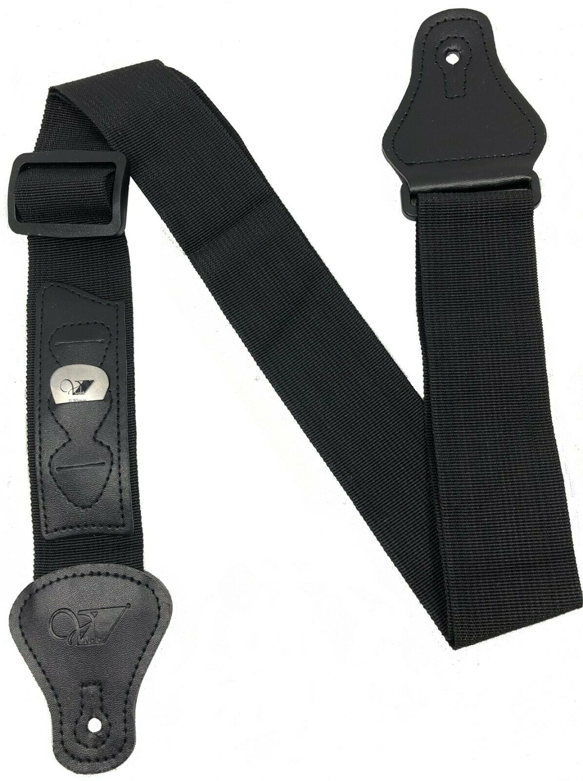"Vivaldi 2"" Guitar Strap with 3 Pick Holder Black Adjustment Length"