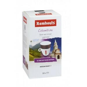 Rombouts Colombian One Cup Roasted Ground Coffee Filters 10x62g Tracked Service - Hayes, United Kingdom - Rombouts Colombian One Cup Roasted Ground Coffee Filters 10x62g Tracked Service - Hayes, United Kingdom