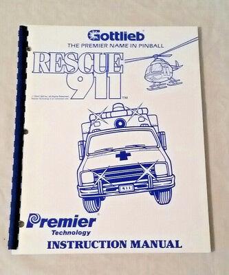 New! Free Ship Gottlieb Premier Rescue 911 Pinball Machine Original Manual NOS