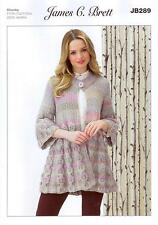 0f7c6ca04e95 James C Brett Ladies Long Swing Cardigan Chunky Yarn Knitting Pattern JB289