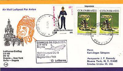 Motive 2019 Neuestes Design Lufthansa Erstflugbeleg Bogota-new York-quito-bogota 1979 Auf Dem Internationalen Markt Hohes Ansehen GenießEn