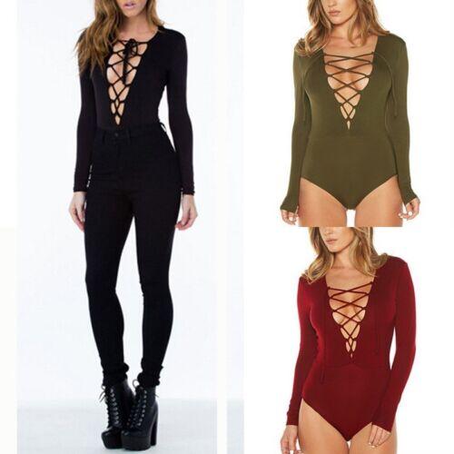 ZANZEA Women Deep V Neck Lace Up Long Sleeve Skinny Leotard Catsuit Playsuit Top
