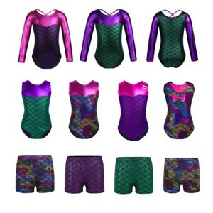 Girls-Gymnastics-Ballet-Leotard-Mermaid-Gym-Dance-Sport-Jumpsuit-Bottoms-Age3-12