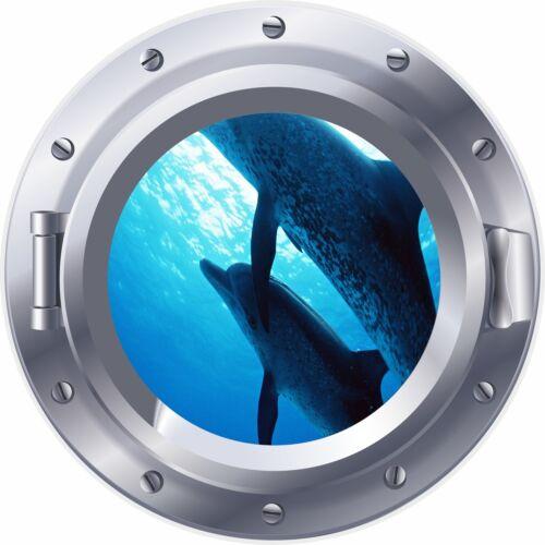 3D Porthole Window Dolphins Underwater Fish Sticker Wall Poster Vinyl GA25-467