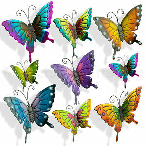 butterflies large xlarge paint coloured metal butterfly wall art outdoor garden ebay. Black Bedroom Furniture Sets. Home Design Ideas