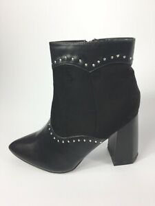 Womens-Ladies-Black-Faux-Leather-High-Heel-Cowboy-Ankle-Boots-Size-UK-9-New
