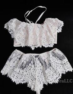 Victoria-039-s-Secret-Dream-Angels-Floral-Lace-flounce-long-line-bra-set-shorts-boho
