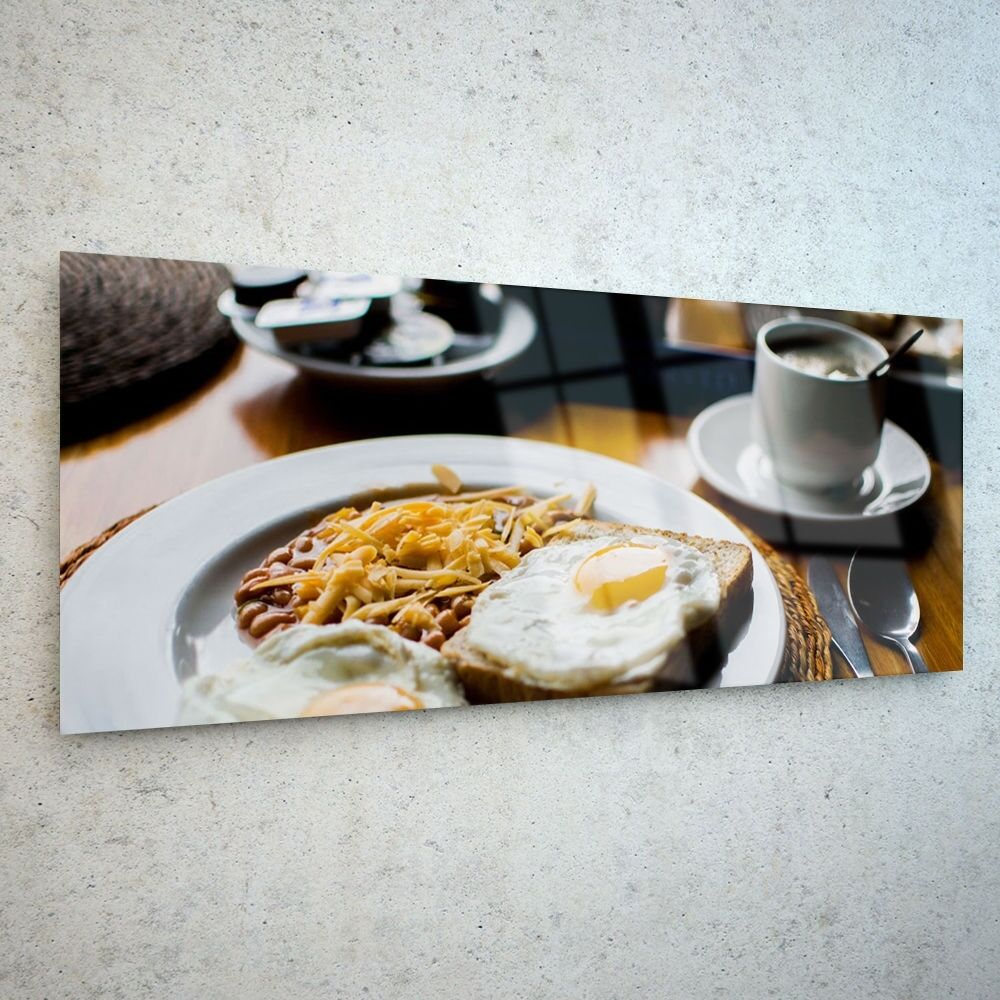 Wall Art Glass Print toile nouveau Picture grand Egg Food Coffee p103124 125x50cm