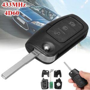 3-Buttons-433MHZ-Transponder-Flip-Folding-Remote-Key-4D-60-Chip-For-FORD-Focus