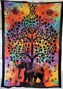 Tagesdecke-Dekotuch-CHANDRA-Bettueberwurf-Indien-Goa-Hippie-Psy-Wandbehang-single