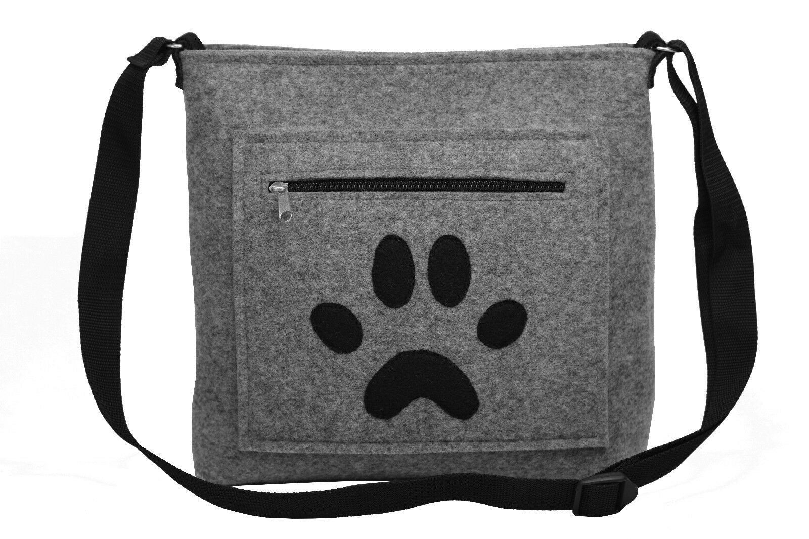 The Lucky Paw Handmade Thick Felt Hand Bag Shoulder Bag Grey Dog Footstep Mark