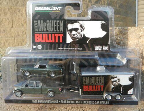 1:64 GreenLight *BULLITT McQueen HITCH /& TOW* Mustang F150 Pickup /& Trailer NIP!