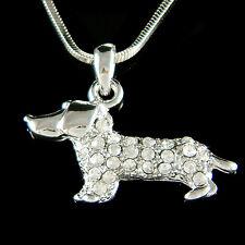 w Swarovski Crystal Dachshund Puppy Doxie Hot Sausage Dog Charm Pendant Necklace