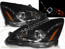 03-07 Honda Accord R8-Style Halo Projector LED Headlights Black Clear Amber