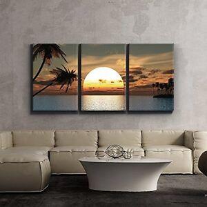 Framed Tropical Sunset Summer Beach Canvas Art Picture ...