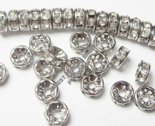 150 Verre Strass Rondell Spacer Métal Perles 8 mm Argent Clair Crystal Mode r25a#3