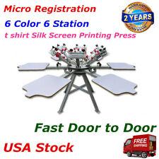 6 Color 6 Station Micro Registration T Shirt Silk Screen Printing Press Machine