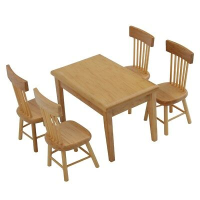 low priced 25e76 fd383 5pcs Dining Table Chair Model Set 1:12 Scale Dollhouse Miniature Furniture  Toy#2 813500477582 | eBay