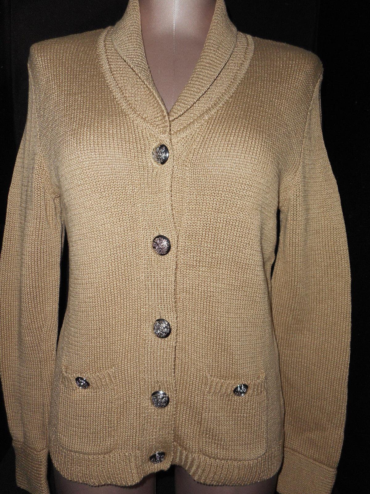 Ralph Lauren Polo Womens Cardigan Button Front Sweater Sz P-Medium Beige Cotton