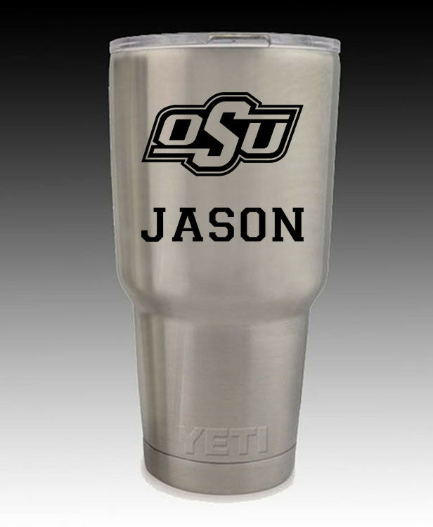 Stainless Oklahoma State Yeti 30 oz cup with name engraved free shipping