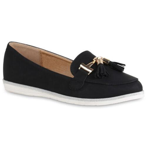 Damen Slippers Loafers Quasten Glitzer Schuhe Slip Ons Metallic 820828 Top