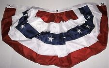 """AMERICAN FLAG NYLON BUNTING  18"""" X 36""""  Embroidered Stars"""
