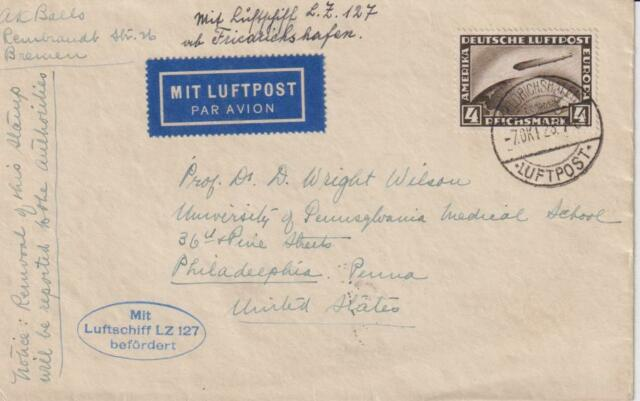 1928-GERMANY-GRAF ZEPPELIN AIR MAIL COVER  WITH STAMPS MI.424-SEND TO USA