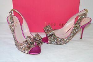 18519e7c873 New  325 kate spade Charm Multi Sparkle Glitter Hot Pink Satin ...