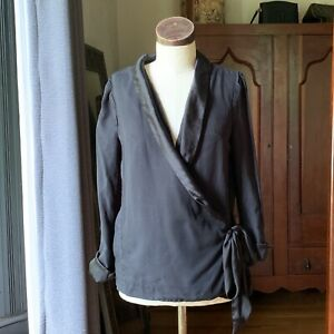 H&M Conscious Collection Womens Belted Wrap Top Black Long Sleeve Blazer Sz 6/36