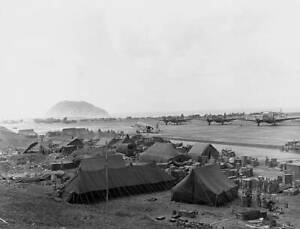OLD-LARGE-MILITARY-PHOTO-WWII-Battle-Iwo-Jima-view-of-the-airstrip