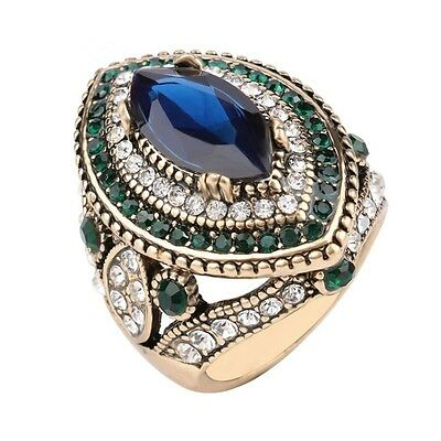 Luxury Jewelry Big Wedding Rings For Women Gold Color Mosaic Green Crystal 7-10