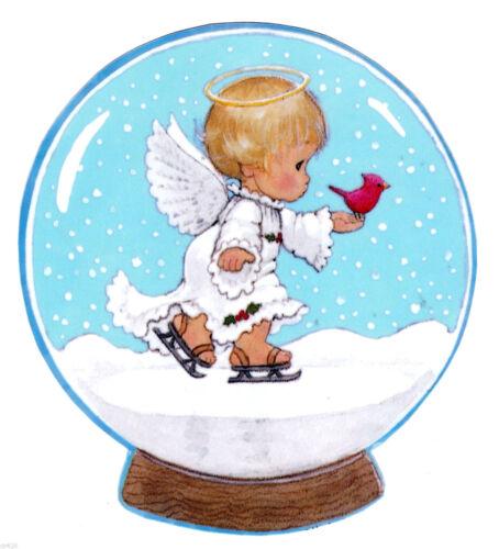 "5.5/"" 5.5/"" Precious moments angel bird christmas holiday window cling decal cut o"