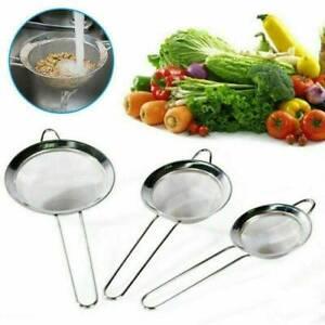Kitchen Strainer Fine Mesh Pasta Flour Stainless Steel Colander Sifter  Sieve