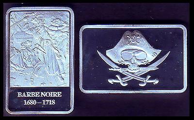 ★★ Magnifique Medaille Plaquee Argent ● Le Plus Celebre Pirate : Barbe Noire ★★