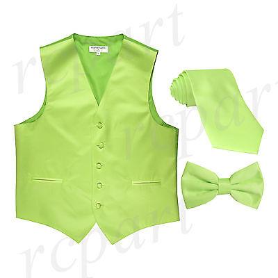 "New Men/'s lime green formal vest Tuxedo Waistcoat/_2.5/"" necktie /& hankie wedding"