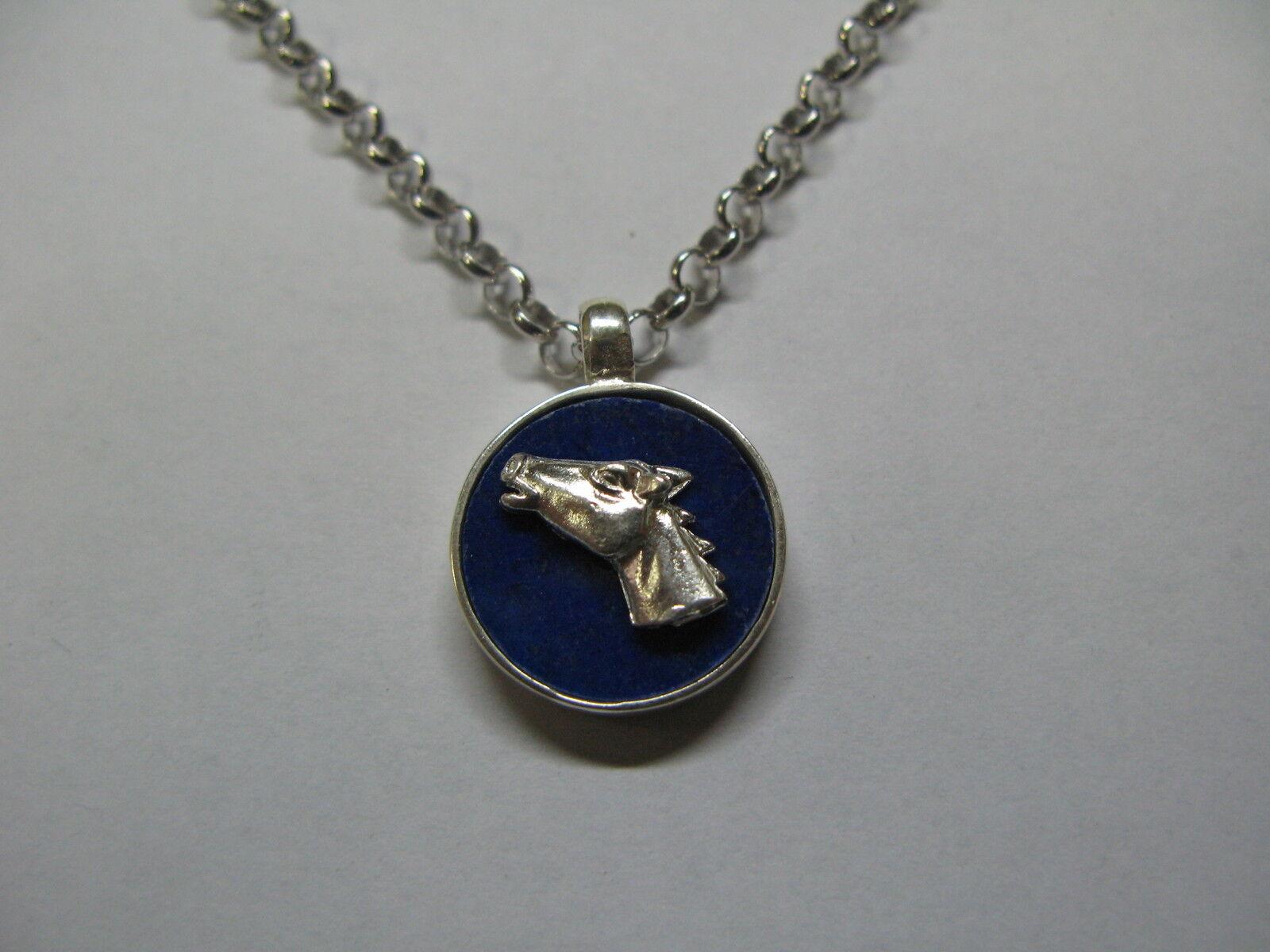 Ciondolo catena silver 925 lapis con applicazione testa di cavallo silver 925