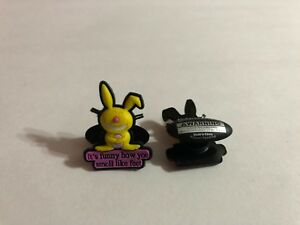 Get 2 Same Shoe Charms - Yellow Happy Bunny Shoe-Doodle SMELL LIKE FEET HAP1011