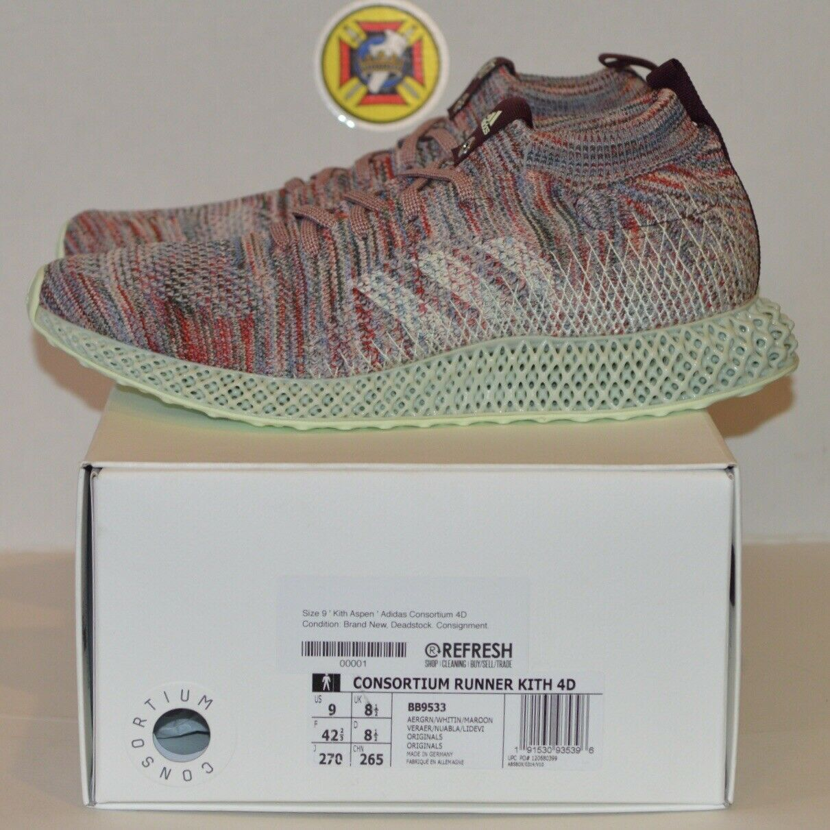 Adidas Consortium Runner Kith Aspen 4D Future Print Size 9 NEW DS 100% Authentic