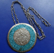vintage SILVER turquoise enamel pendant Mexico mask pendant brooch necklace C872